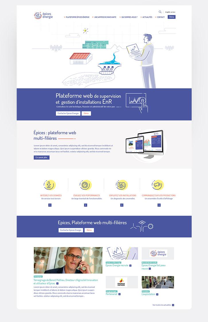 """Ui design - Web design des interfaces """"Epices énergie"""""""